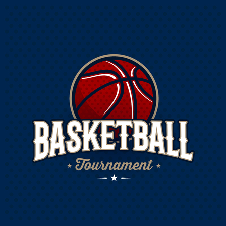 Modern professioneel basketbal toernooi logo met bal. Sport badge voor team, kampioenschap of competitie. Vector illustratie.