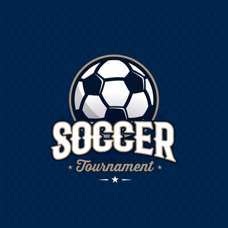 collegiate: Modern professional soccer tournament logo with ball. Sport badge for team, championship or league. Vector illustration. Stock Photo