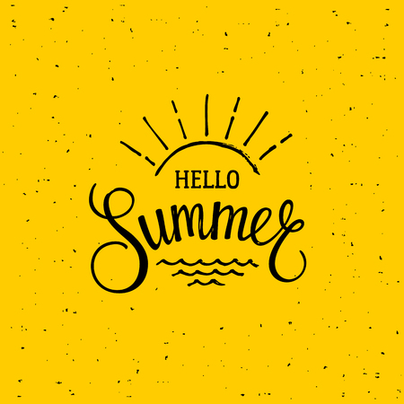 Brush lettering composition. Hello summer. Motivational typography for cards, wall prints and posters. Handwritten calligraphy. Vector illustration Stok Fotoğraf
