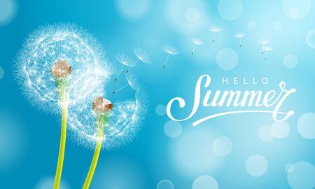Dandelion Flower Background and Summer Lettering. Vector Illustration EPS10