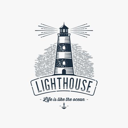 Lighthouse Design Element in Vintage Style for Logo or Badge Retro vector illustration. Vector illustration. Vectores