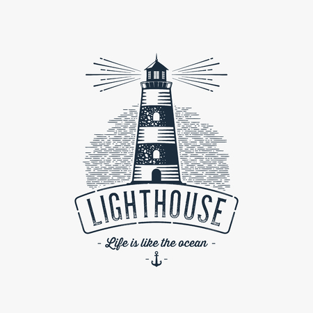 Lighthouse Design Element in Vintage Style for Logo or Badge Retro vector illustration. Vector illustration. Ilustração