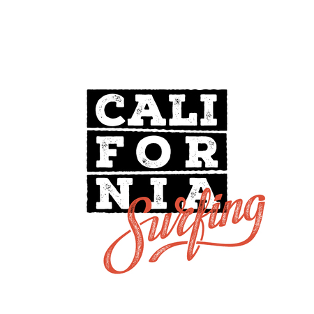 California Surfing typography. T-shirt design, graphics, stamp, label typography Vector illustration
