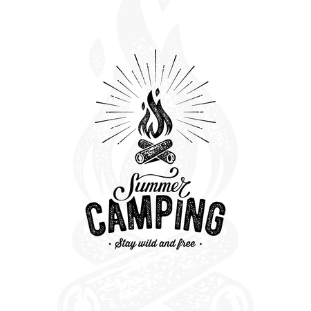 Camping summer white background, Vector illustration.