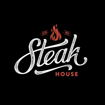 Steak house fire black Vector illustration.