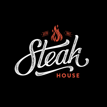 Steak house fire black Vector illustration.
