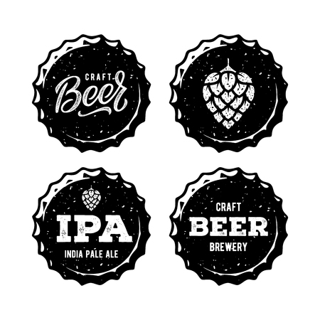 Set Beer Cap White For Beer House. Vector illustration