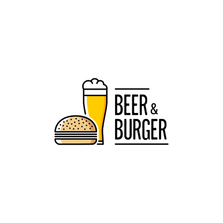 Beer and Burger Outline Yellow. Vector illustration