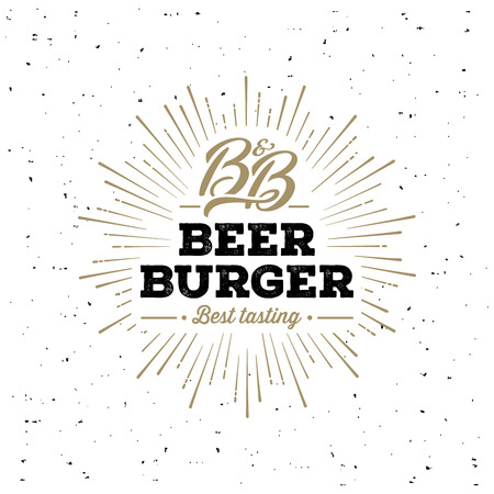 Beer and Burger Grunge Starburst White. Vector illustration
