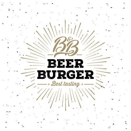 Beer and Burger Grunge Starburst White. Vector illustration