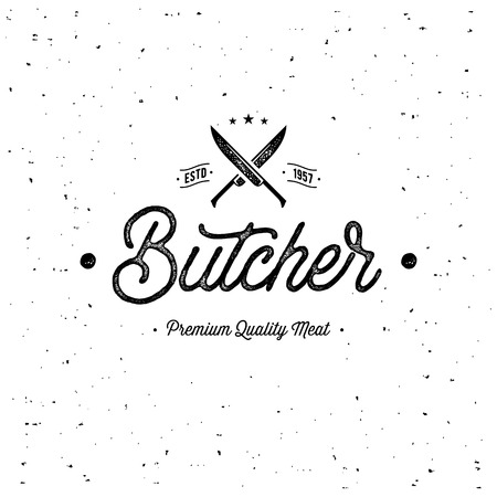 Butcher Emblem with Knife Grunge White Vector