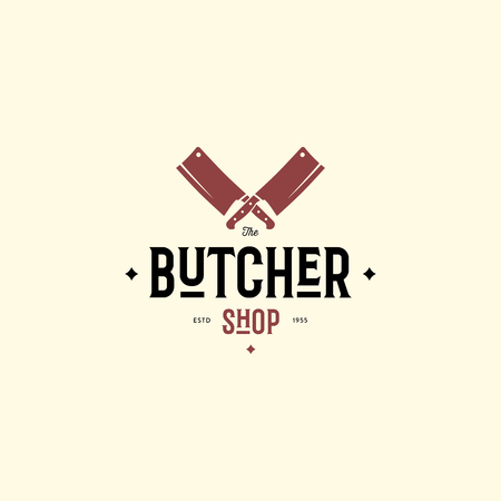 Butcher logo template with knifes. Vector Illustration Vectores