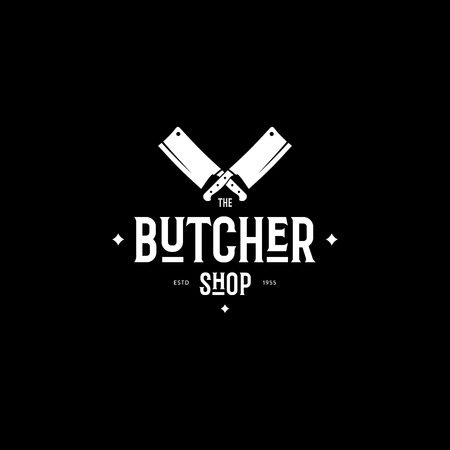 Butcher Shop Emblem with Knifes Black Vector illustration. Vettoriali