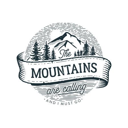 Les montagnes appellent l'illustration vectorielle du cercle.