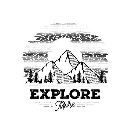 Explore More Mountains Circle White Vector illustration