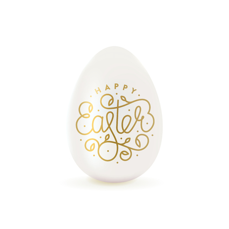 Happy Easter lettering with realistic egg. For greeting card, poster, flyer. Vector illustration.