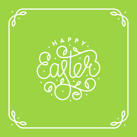 Happy easter lettering modern calligraphy style. For greeting card, poster, flyer. Vector illustration