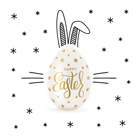 Happy Easter greeting card with black hand-drawn rabbits ears and realistic egg. Lettering, sketch. Vector illustration Ilustrace