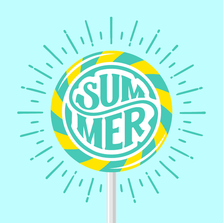 Lettering summer on a lollipop. Handwritten circular calligraphy lettering for greeting cards, posters, prints for home decorations. Vector illustration
