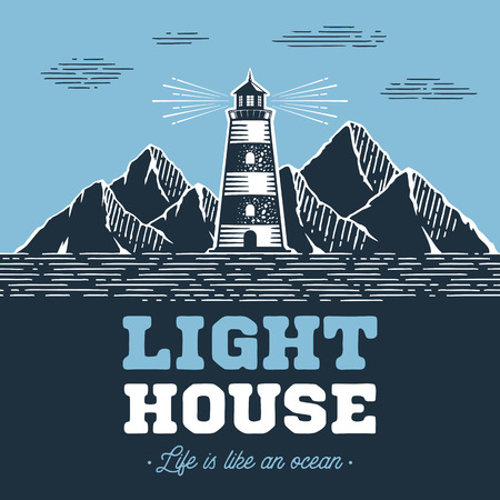 Lighthouse emblem in Vintage Style for Logo or Badge with lighthouse and inspirational typography Life is like an Ocean . Vector illustration. Logo