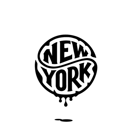 New York. Typography for t shirt. Handwritten circular calligraphy lettering for greeting cards, posters, prints for home decorations. Vector illustration