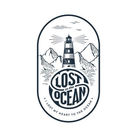 Emblem in Vintage Style for Logo or Badge with a lighthouse and inspirational typography I lost my Heart to the Ocean. Vector illustration.