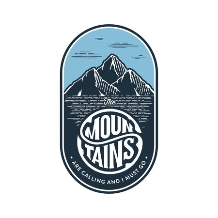 Mountains emblem, badge. Mountain tourism, hiking. Camping outdoor adventure label Vector illustration