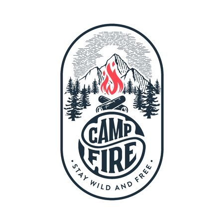 Camp badge with campfire. Stay wild and free. Vector illustration.
