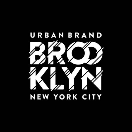 Brooklyn urban brand. New York City. Typography, t-shirt graphics, poster, print, banner flyer postcard Vector illustration