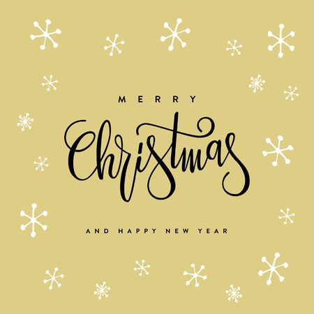Merry Christmas and Happy New Year lettering design. Vector illustration.