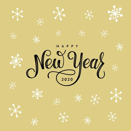 Happy New Year 2020. Lettering Composition With Snowflakes on the Golden Background. Holiday Vector Illustration.