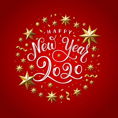 Happy New Year 2020. Lettering Composition With Stars And Sparkles. Holiday Vector Illustration. 일러스트