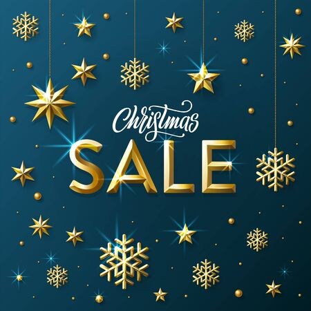 Christmas Sale lettering with Golden Stars, Snowflakes and Beads on blue background. Banner for shopping store discount. Vector Illustration