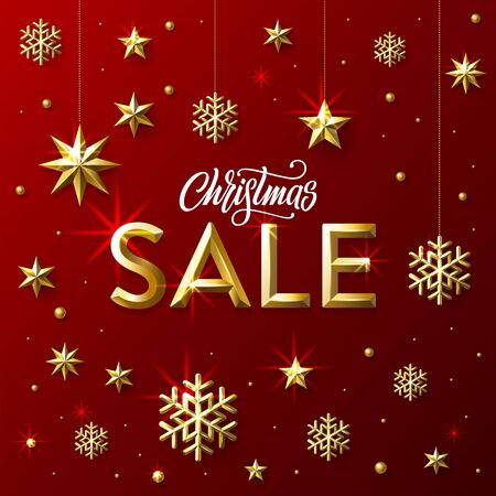 Christmas Sale lettering with Golden Stars, Snowflakes and Beads on redbackground. Banner for shopping store discount. Vector Illustration