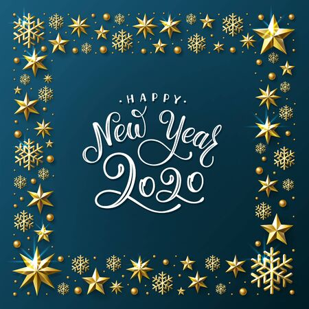 Happy New Year 2020. Lettering composition in a square frame of golden stars, snowflakes and sparkles. Vector illustration. Ilustração