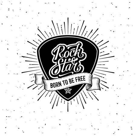 Rock star handwritten lettering on a plectrum. Born to be free Slogan graphic for t shirt or tattoo. Poster with plectrum, starburst, ribbon. Vector illustration