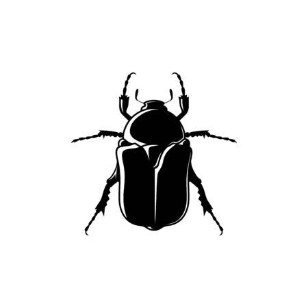 Beetle Protaetia cuprea. Black and white poster. Vector illustration