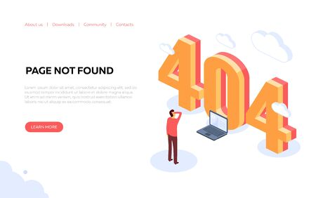 Illustration for page 404. Page is lost and not found message. Concept for the development of sites and mobile sites. Vector illustration
