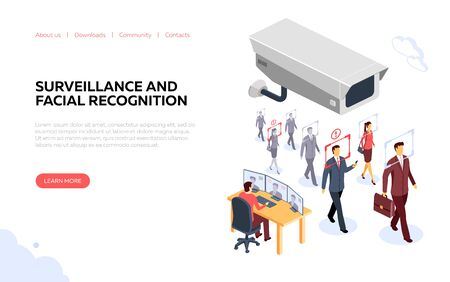 Identification surveillance banner. Illustration on the theme of surveillance, CCTV and facial recognition. Concept for the development of sites and mobile sites. Vector illustration