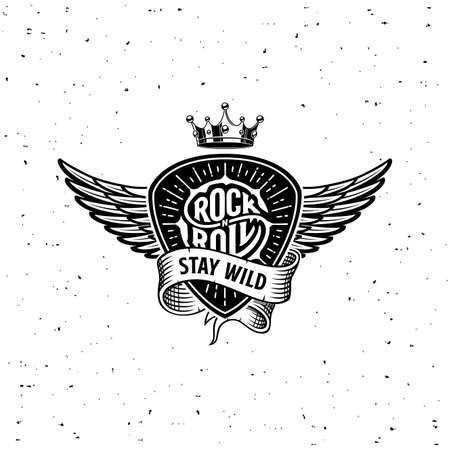 Rock n Roll stay wild ribbon crown wings