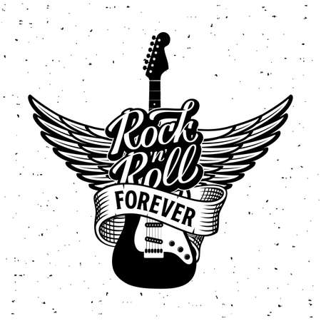 Rock Roll forever lettering with guitar Vector illustration