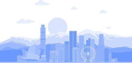 Los Angeles (United States) city skyline vector background. Flat trendy illustration  イラスト・ベクター素材