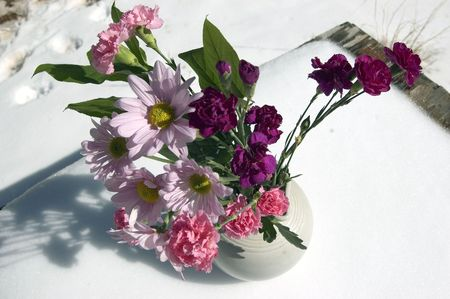 flowers on a rustic table