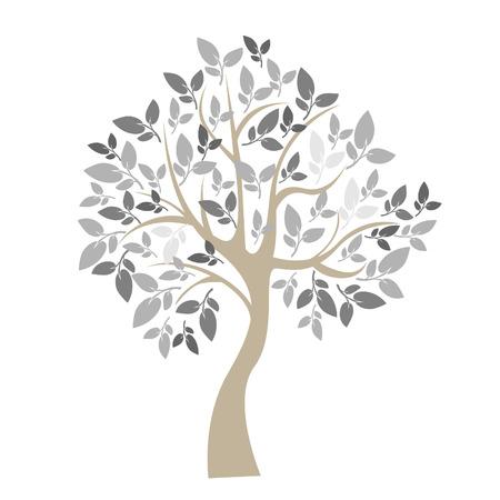 arbres silhouette: Vector illustration d'un arbre sur fond blanc - Illustration