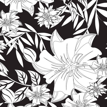 Seamless  flower illustration  floral pattern texture art