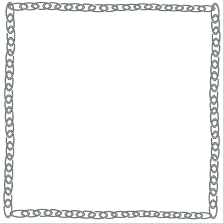 interlink: Vector metallic chain frame background  black and withe - Illustration