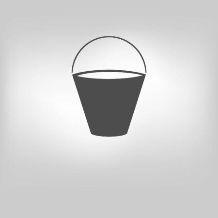 Bucket icon on gray background. Vector illustration. Illustration