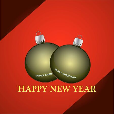 Happy New Year banner with Christmas balls design.