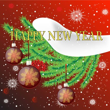 Happy New Year banner with snowflakes and Christmas balls design.