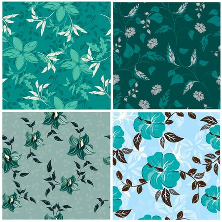 Set of colorful floral seamless patterns.